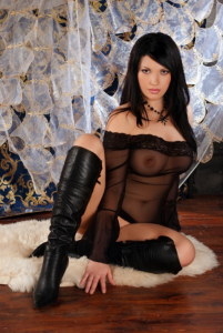 dark haired Russian escort