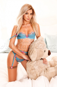blonde escort with teddy